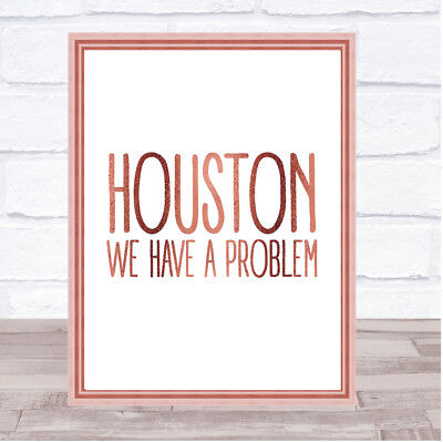 Rose Gold Houston, We Have A Problem Apollo 13 Quote Wall Art Print