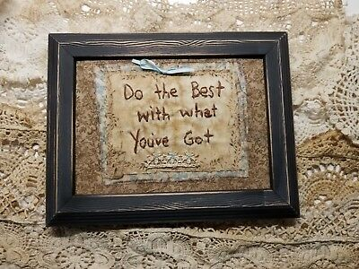 "Primitive Country Stitchery Home Decor 5x7 UNFRAMED ""Do the Best"" Embroidery"