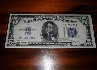 1934 5 $ bill Silver Certificate United States currency note gem uncirculated