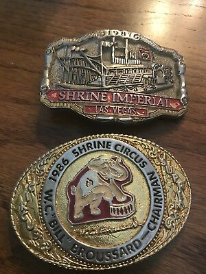 Two Vintage Shriners Belt Buckles