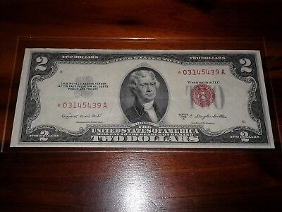 1953 B $2 bill United States red seal STAR NOTE circulated vf+