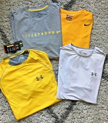 LOT (4) Under Armour & Nike Livestrong Heat Gear Dri-Fit MEN XL X-Large *one nwt