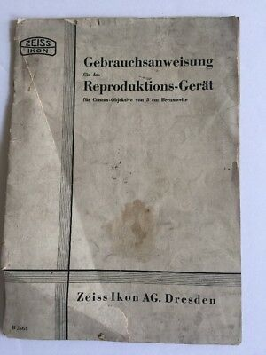 ZEISS IKON Contax 5cm Lenses Instruction Manual For Reproduction Device GERMAN