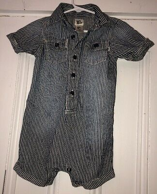 OshKosh Baby B'gosh Boys Blue Striped Romper One Piece Sz 18m Train Conductor