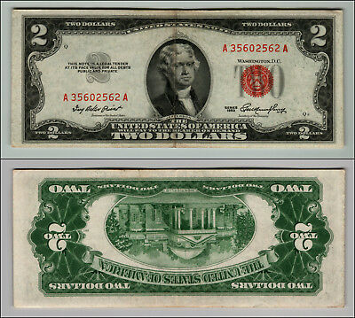 1953 $2 Dollar Bill Old Us Note Legal Tender Paper Money Currency Red Seal Z588