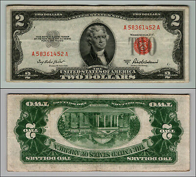 1953A $2 Dollar Bill Old Us Note Legal Tender Paper Money Currency Red Seal P18