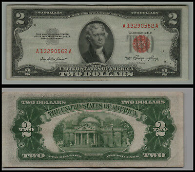 1953 $2 Dollar Bill Us Note Legal Tender Paper Money Currency Red Seal V529