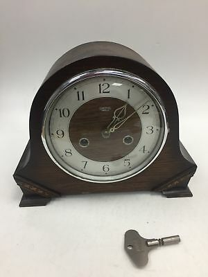 Vintage Smiths Enfield Chiming Mantel Clock With Original Key. #114