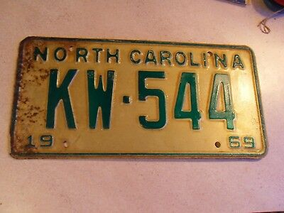 1969 North Carolina Nc License Plate Tag Kw-554 Original Stamped Rare Barn Find