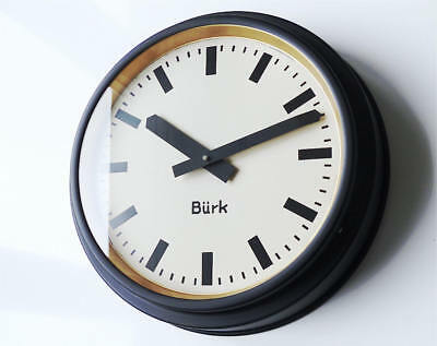 1920 Antique german BURK Industrial Clock factory wall Bauhaus old large vintage