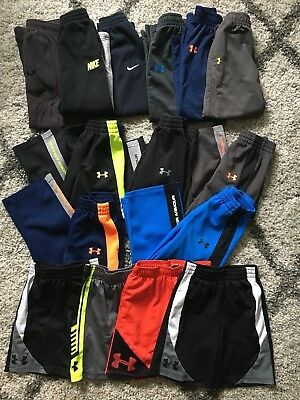 HUGE LOT (15) UNDER ARMOUR & NIKE Sweat Pants Shorts Athletic Boy 4T 5T *LOGO*