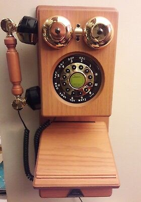 Retro Vintage Telephone Wall Mount Phone American Heritage Antique Wood Decor