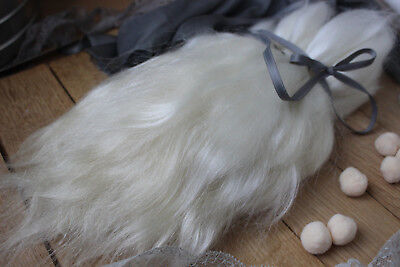"Mohair doll hair 8-12"" 0.35 oz White organic mohair locks angora Goat Reroot"