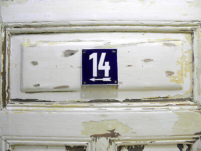 Vintage Sign House Door Number 14, Blue and White Enamel Metal Plate Authentic