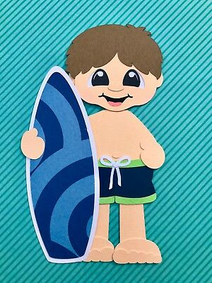Fully assembled Surfer Boy (dark hair) paper piecing / die cut