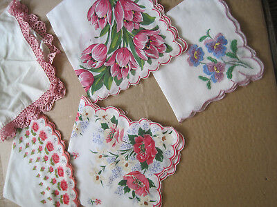 VTG Handkerchiefs/Hankies~ Mixed Lot of 5 FLORAL/Crocheted & Embroidered