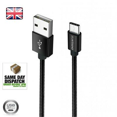 Heavyduty Braided Fast Charge USB C Type C Data Phone Charger Cable Lead 1m