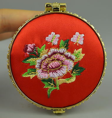 Collectible Decor Old China Culture feature Embroidery Flower Rare Usable Mirror