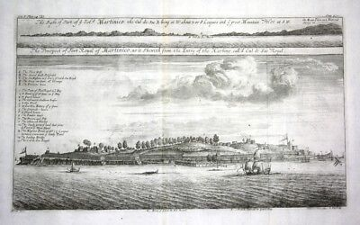 1730 - Churchill Martinique island panorama - Kupferstich / engraving map Karte