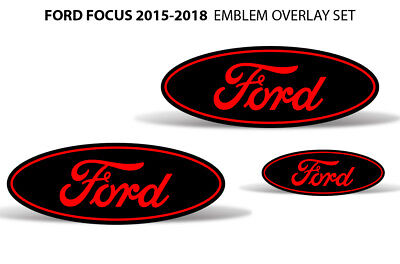 Oval Badge Emblem Logo Overlay Sticker Decals For Ford Focus 2015-2018 RED BLACK