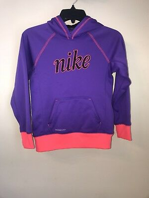 Girls Medium 10-12 Nike Dri Fit  Therma Fit Hoodie Sweatshirt Worn Once Purple
