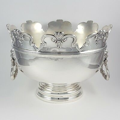 Antique Sterling Silver Monteith Style Bowl Lion Head Handles 1902 998.1 Grams