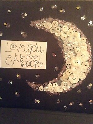 Baby Nursery Decor/ Moon Button Picture/ love You To The Moon And Back/ On Black