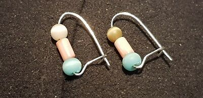 Stunning Ancient Roman beads on new/modern earrings, wearable ancient lot. L63b