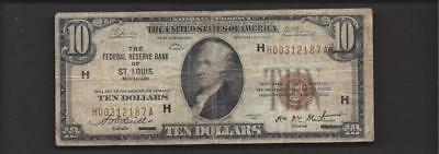 1929 $10 NATIONAL CURRENCY Federal Reserve St LOUIS FR1860H  VG-Plus  ~407969-N