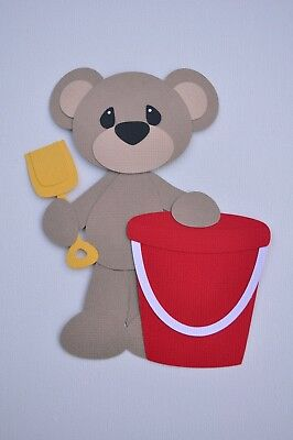 Bear with bucket and shovel fully assembled paper piecing / die cut