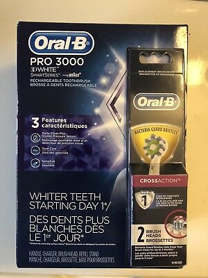 Oral-B PRO 3000 Electric Rechargeable Power Toothbrush With 2 Replacement Heads