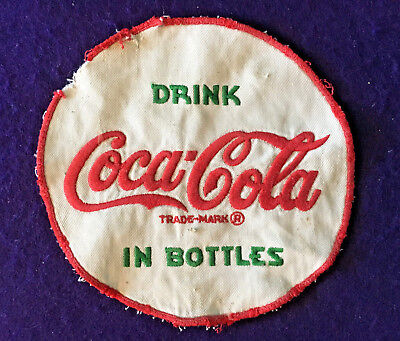 1960s Vintage COCA-COLA DRIVER'S UNIFORM PATCH White Embroidered Cloth 7""