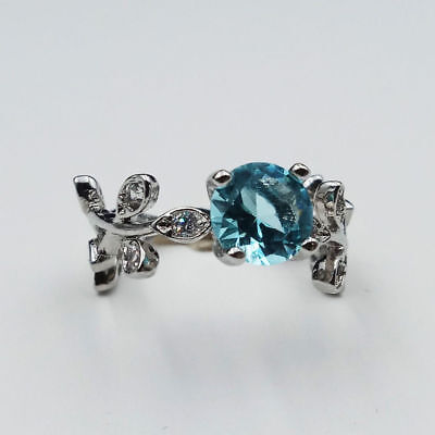 Women Silver Plated Aquamarine Leaf Flower Wedding Engagement Ring Size 6-10