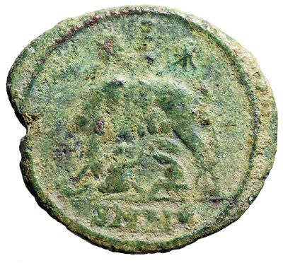 """RARE Roman Coin Foundation of Rome """"She-Wolf, Romulus Remus 3 Dots"""" Heraclea"""