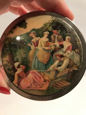 Vintage Glass Powder Jar With Metal Lid With Colorful Victorian Scene