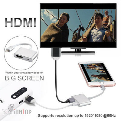 Lightning to Digital AV TV HDMI Cable Adapter For iPhone X 8 7 6S 6 iPad Pro