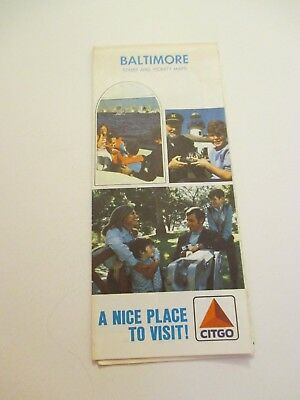 1972 Citgo Baltimore Maryland MD City Street Oil Gas Station Road Map