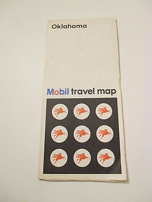 Vintage 1971 MOBIL Oklahoma Oil Gas Service Station Road Map