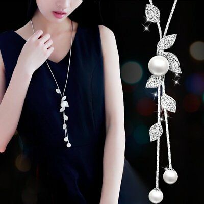 Trendy Women Silver Flower Leaf Crystal Pearl Choker Pendant Necklace Long Chain