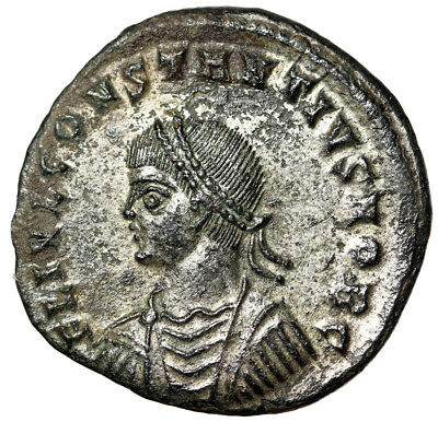 """HIGH QUALITY Roman Coin Constantius II Caesar """"Campgate, Architecture"""" Silvered"""