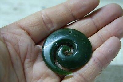 Very Nice Looking Carved Green Jade Pendant - Maori Interest - L@@k