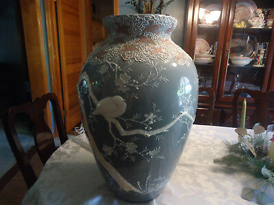 Antique Japanese Chinese Oriental Hand Painted Porcelain Vase Fish Bowl Huge