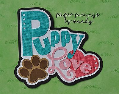 Fully assembled 'Puppy Love' scrapbook title