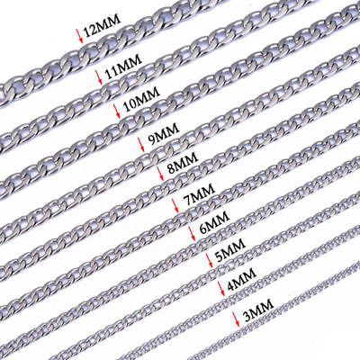 """3-12MM DIY Cool Silver 316L Stainless Steel Men's Chains Link Curb Neck 18-36"""""""