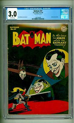Batman #37 Cgc 3.0 Joker Cover 1946 Off White