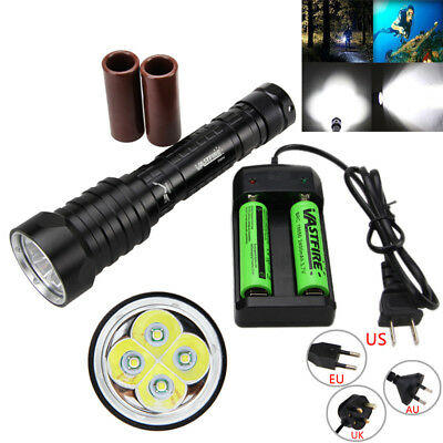 15000LM 4x XM-L T6 LED Diving Scuba Flashlight Torch 18650/26650 Underwater 100m