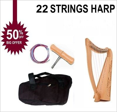 22 Strings Lever Harp Gear4music Harp Celtic Harp With Free Bag and Tunning Key