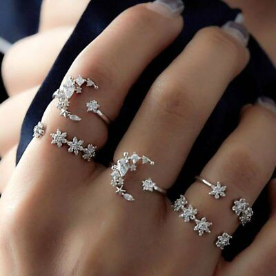 5Pcs/Set Fashion Boho Crystal Silver Star Flower Stackable Sparkly Rings Jewelry