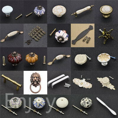 1x Vintage Flower Ceramic Drawer Knob Pull Handle Door Cupboard Cabinet Hardware