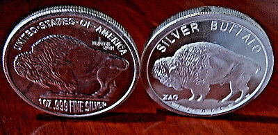 XAG Intrinsic Tender/NTR Metals 2x1 Troy Oz .999 Fine Silver Buffalo Pair 2 Oz
